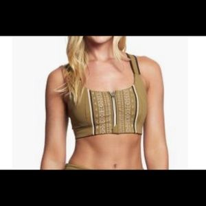 Free People Spin Sports Bra Army color